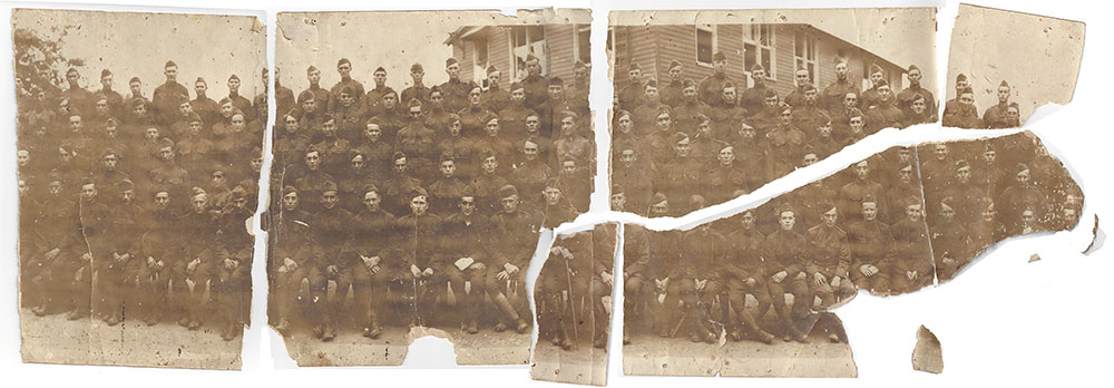Carol Hawkins Studio. Professional photo restoration by a true artist. 512/327-2700. Before photo of WWI troops from troop ship Leviathan.