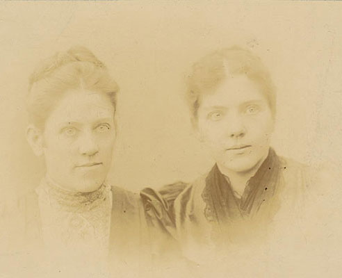Two young women who wrote a very famous song. This vingage photographic image is faced and spotted. The client brought it to Carol Hawkins Studio for fine restoration done by a true artist.